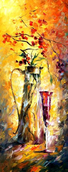 FLOWERS AND WINE - Palette knife Oil Painting  on Canvas by Leonid Afremov http://afremov.com/FLOWERS-AND-WINE-Palette-knife-Oil-Painting-on-Canvas-by-Leonid-Afremov-Size-16-x40.html?bid=1&partner=15955