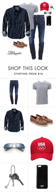 """""""Great outfit!"""" by diane-711 ❤ liked on Polyvore featuring Dsquared2, Banana Republic, Sperry, Ray-Ban, Givenchy, men's fashion and menswear"""