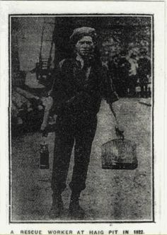 Rescue worker J.McAllister about to descend the mine, at Haig Colliery Whitehaven Cumbria 1922 - 39 killed (1200 men women and children were killed in this mine not counted the 1000's injured over the years) http://dmm.org.uk/names/n1922-01.htm