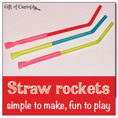 Straw rockets are simple to make and fun to play. All you need to make these straw rockets is paper, tape, and straws. || Gift of Curiosity