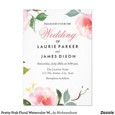 Shop Pretty Pink Floral Watercolor Wedding Invitation created by Nicheandnest. Quinceanera Invitations, Watercolor Wedding Invitations, Floral Invitation, Floral Wedding Invitations, Bridal Shower Invitations, Custom Invitations, Invitation Design, Invitation Birthday, Sweet Sixteen Invitations