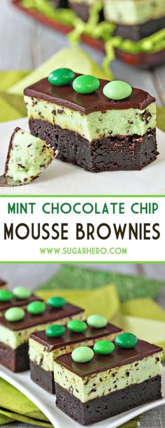 Mint Chocolate Chip Mousse Brownies - fudgy brownies topped with light and fluffy mint chip mousse! | From SugarHero.com