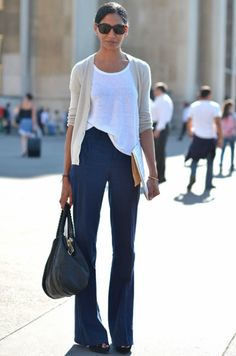 Simple white tee w/ wide pants & cardi  Love but with a fun necklace : )