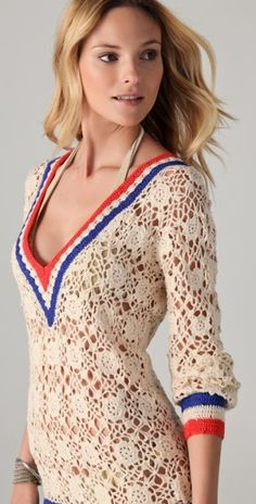 Riviera Sands crochet cover-up / Sa�da de praia de croch�  Lace Dress #2dayslook #sasssjane #susan257892 #watsonlucy723 #LaceDress  www.2dayslook.com