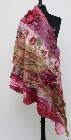 Nuno felted scarf Chunky Long Felt Shawlf Textured Silk Wool Multicolor Felt Scarf OOAK by RaisaFelt on Etsy