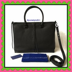 """Authentic Rebecca Minkoff Black Leather Large Bag % AUTHENTIC ✨ Beautiful super soft leather large handbag from Rebecca Minkoff  Lightweight & very spacious. Length 17"""" Height 12"""" Width 5 1/2"""" Very versatile! Crossbody, shoulder and top handle bag with adjustable detachable long strap Zipper top closure. 4 interior pockets. New with tag. GORGEOUS  NO TRADE  Rebecca Minkoff Bags Totes"""