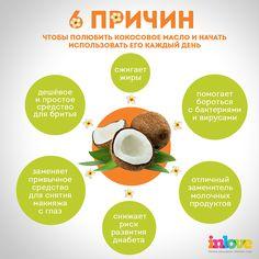 Инфографика. 6 причин полюбить кокосовое масло и начать им пользоваться каждый день! #infographics