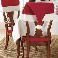 These santa hat chair covers add a playful touch to Christmas dinner that the kids will love! Christmas Chair, Christmas Table Settings, Christmas Tablescapes, All Things Christmas, Winter Christmas, Christmas Home, Christmas Decorations, Christmas Ornaments, Christmas Ideas