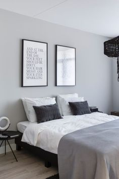 Gray, white, black, monotone and minimalist bedroom furniture and design. #MinimalistBedroom