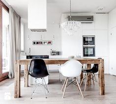 projekty wnętrz - Średnia otwarta jadalnia w salonie, styl skandynawski - zdjęcie od Studio Projektowe Dekoratorni