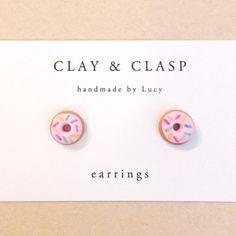 Doughnut Earrings - beautiful handmade polymer clay jewellery by Clay & Clasp