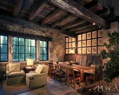 rustic reclaimed French Oak ceiling and window lintel