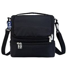 Wine Decanters - RipStop Black Double Decker Lunch Bag >>> Click image for more details.