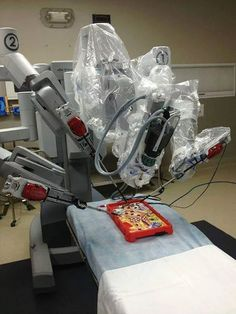 Testing out the new robotic surgery equipment