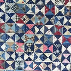 Old Quilts, Antique Quilts, Scrappy Quilts, Vintage Quilts, Patchwork Quilting, Triangles, Quilting Projects, Quilting Designs, Scrap Quilt Patterns