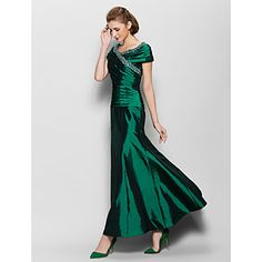Lanting+Bride®+A-line+Mother+of+the+Bride+Dress+Ankle-length+Short+Sleeve+Taffeta+with+Beading+/+Side+Draping+–+USD+$+99.99