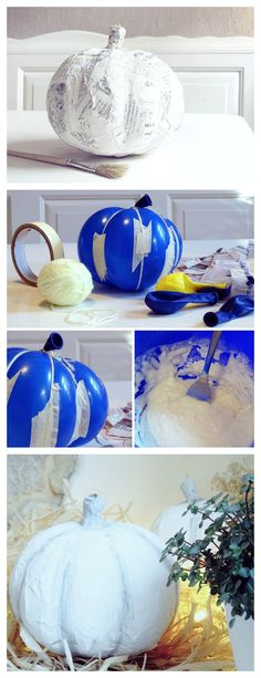 Great alternative to the expensive craft store p… Balloon paper-mâché pumpkin. Great alternative to the expensive craft store pumpkins! I'm totally into simple autumn decorations with white pumpkins. Unfortunately … Autumn Crafts, Fall Crafts For Kids, Diy For Kids, Diy And Crafts, Wood Crafts, Paper Crafts, Fall Halloween, Halloween Crafts, Happy Halloween