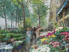 Yuri Krotov art | Yuri Krotov - The flower market, Nice, Oil on canvas, 29.25 x 39.25 ...