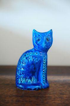 Stunning Italian Bitossi Sitting CAT Ceramic Rimini BLU BY Aldo Londi | eBay