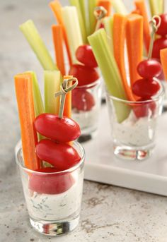Mini vegetable crudite served with ranch dip. Love this mini salad or veggie appetizer. Easy to eat while standing.