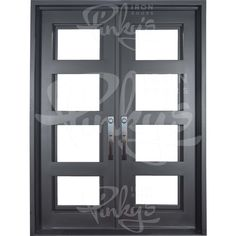 Air 19 ThermallyBroken Double Iron Door with Flat Top – Pinky's Iron Doors Iron Front Door, Front Doors, Garage Doors, Double Door Design, Door Sweep, Double French Doors, Doors Online, Wrought Iron Doors, Single Doors