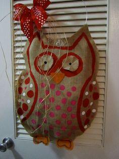 http://www.etsy.com/listing/89564997/owl-natural-burlap-door-hanger-door