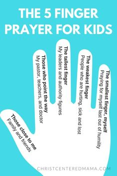 The 5 finger prayer for kids - creative prayer ideas for kids Christ Centered Mama Christian Praying Ideas Sunday School Interactive Prayer Sunday School Crafts For Kids, Bible School Crafts, Sunday School Activities, Church Activities, Bible Activities, Kids Sunday School Lessons, Children's Sunday School, Sunday School Stories, Summer Activities