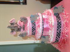 Elephant theme diaper cake for baby girl.