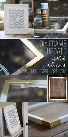 Adding gold edges to a CHEAP frame! Easy DIY on The Blissful Bee!