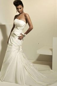A-line Strapless Beaded Pleated Mermaid Wedding Dress