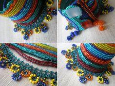 Alcea Rugosa  ... Freeform Crochet Cuff - Flowers -  Yellow Orange Emerald Blue Green - Beaded Beadwork. $168.00, via Etsy.