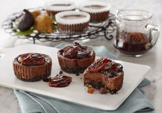 One of the best ways to plan for a special dinner is to serve mini cheesecakes. Mini Chocolate Cheesecake with Figs are easy to make ahead. #valleyfig #chocolatecheesecake #figcheesecake #minicheesecake Chocolate Wafer Cookies, Chocolate Wafers, Melting Chocolate, Chocolate Recipes, Dried Fig Recipes, Fig Dessert, Mini Chocolate Cheesecake, Fig Cake, Mini Cheesecakes
