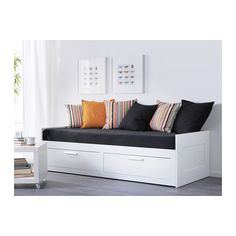 BRIMNES day-bed w 2 drawers/2 mattresses, white/Moshult firm | IKEA Indonesia Cama Ikea, Ikea Daybed, Ikea Beds, Murphy Bed Ikea, Murphy Bed Plans, Lit Banquette 2 Places, Day Bed Frame, Large Cushion Covers, Lit Simple