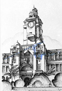Karachi Municipal Corporation Building, Karachi.  Pen and ink on pastel sheet, drawn with 0.1mm rapido.  By: Zehra Naqavi (Architect/artist)  Year: 1996