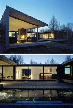 H-House: in Trosa, in the archipelago of Stockholm, Sweden, situated on a beautiful site overlooking the ocean. the house was constructed in an H shape, which creates intimate and wind protected spaces. WRB