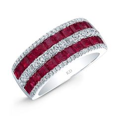 HIGH QUALITY NATURAL COLOR 18K WHITE GOLD TRENDY PRINCESS RUBY DIAMOND BAND DESIGNED WITH ROWS OF ROUND WHITE DIAMONDS AND FEATURES 3.58 CARAT TOTAL WEIGHT