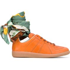 Maison Margiela Replica sneakers with ankle tie ($845) ❤ liked on Polyvore featuring shoes, sneakers, colorful sneakers, multicolor sneakers, brown sneakers, colorful shoes and ankle strap shoes