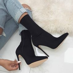 Black Pointed Sock Stiletto Heeled Boots – Shoes World Black Stilettos, Black High Heels, Stiletto Heels, Black Boots, High Heel Boots, Shoes Heels Boots, Heeled Boots, Cute Shoes, Me Too Shoes