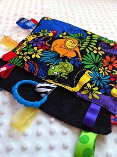 "Crinkle gender neutral tag rag sensory blanket by NapTimeMakings, ""Jungle safari animal"" theme $12.00"