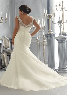 Trumpet/Mermaid Illusion Bateau Court Train Plus Size Wedding Dress with Applique Beading