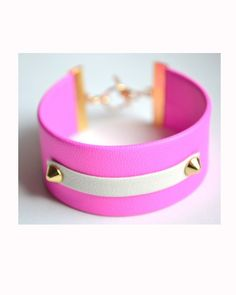 Neon pink cuff with studs