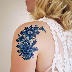Large Delfts Blue tattoo #beautytatoos