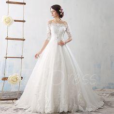 Court Train Off-The-Shoulder Half Sleeves Lace Tulle Wedding Dress - m.tbdress.com