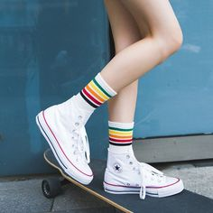 2017 women socks autumn winter 3 pairs long socks girls cotton colorful creative striped fashion socks for women Long Socks Outfit, Skate, Rainbow Socks, Girls Socks, Ladies Socks, Women Socks, Tube Socks, Short Socks, Black Socks