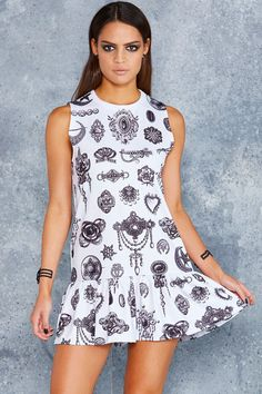 Bewitched Brooches Friller Dress - 48HR ($100AUD) by BlackMilk Clothing
