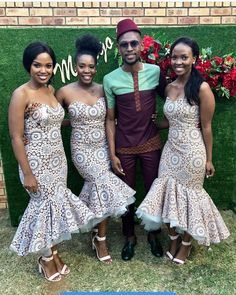shweshwe dresses trends of 2019 - Reny styles African Print Wedding Dress, African Bridesmaid Dresses, African Wedding Attire, African Weddings, African Traditional Wedding Dress, Traditional Outfits, Traditional Weddings, African Dress, African Wear