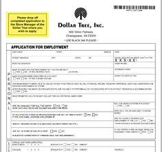Dollar Tree printable job application.