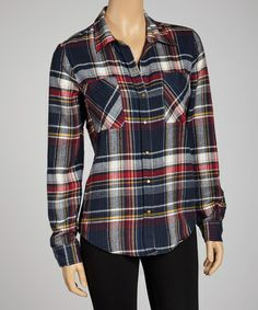 Take a look at this Wine Berry Plaid Button-Up by Coupé on #zulily today!