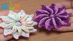 How to Crochet 3D 10-Petal Flower Tutorial 47 Crochet Around Post (+play...