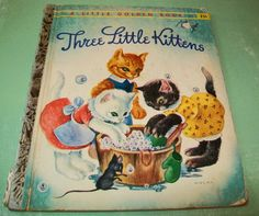 Vintage book, Three Little Kittens, 1940s, Golden Book, Masha, storybook, children, child, Mary Reed, New York, book, 1950s